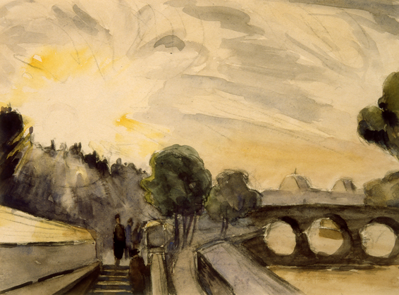 He returned to London in 1933 During a spell on the dole in the Depression years he continued drawing and painting water colours around the Little Venice canal in Maida Vale He met the Rev Oliver Fielding